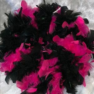 Pink and black feather wreath